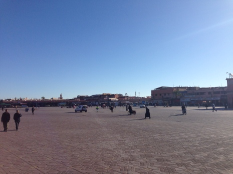 Early morning Jemaa el-Fnaa Square, before the chaos begins